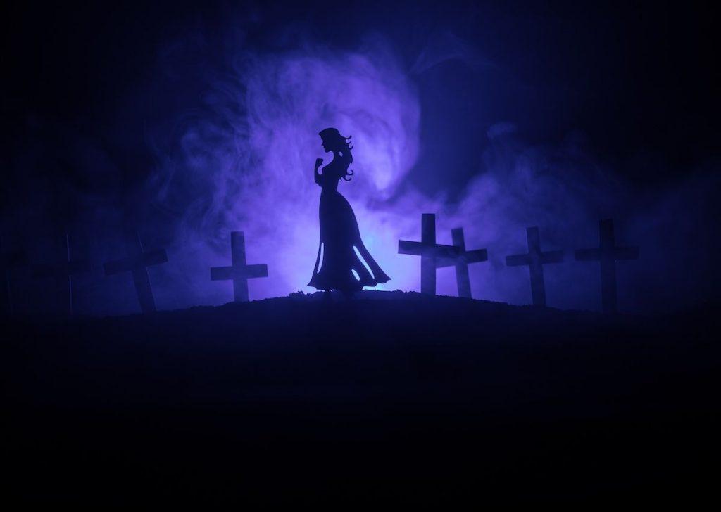 A chorona ou la llorona lenda mundo sombrio cemitério