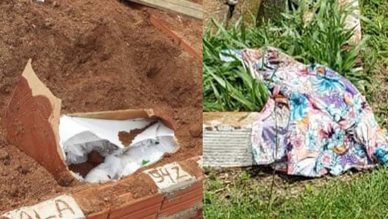 Corpo de mulher foi encontrado fora do túmulo (Fotos: Divulgação/Polícia Civil)