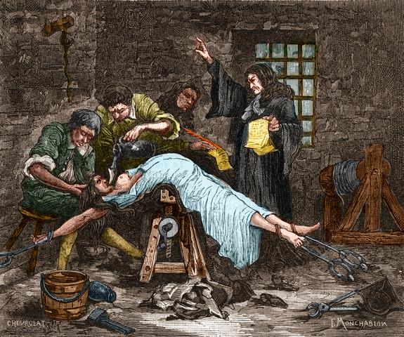 Madame de brinvilliers sendo forçada a ingerir água antes de ser decapitada em 1676. Ela foi condenada por envenenar vários membros de sua família para obter suas heranças. --- imagem © stefano bianchetti / corbis