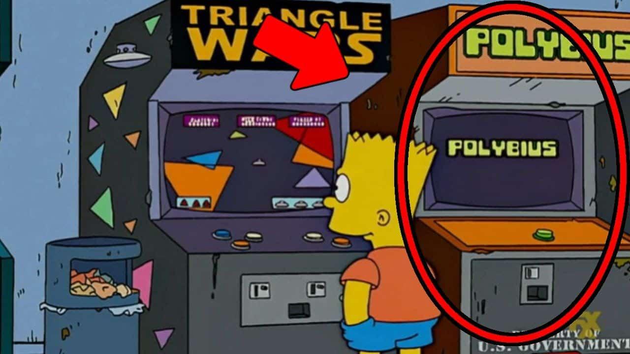 Polybius em os simpsons mundo sombrio bart triangle wars arcade videogame game
