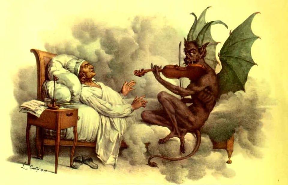Representação do pesadelo de giuseppe tartini, o trilo do diabo, sonata do diabo