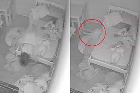 Pai captura imagens horríveis de sua filha sendo 'puxada para baixo da cama' por um 'fantasma' mundo sombrio