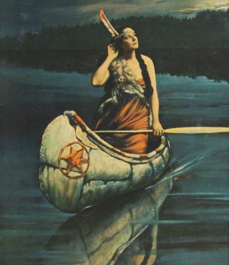 A dama do lago ronkonkoma lenda americana mundo sombrio índia no lago de noite